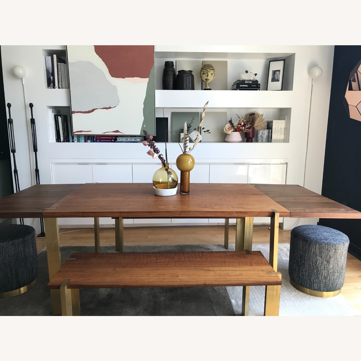 Taylor Made Custom Brass and Walnut Extension Dining Set - image-4