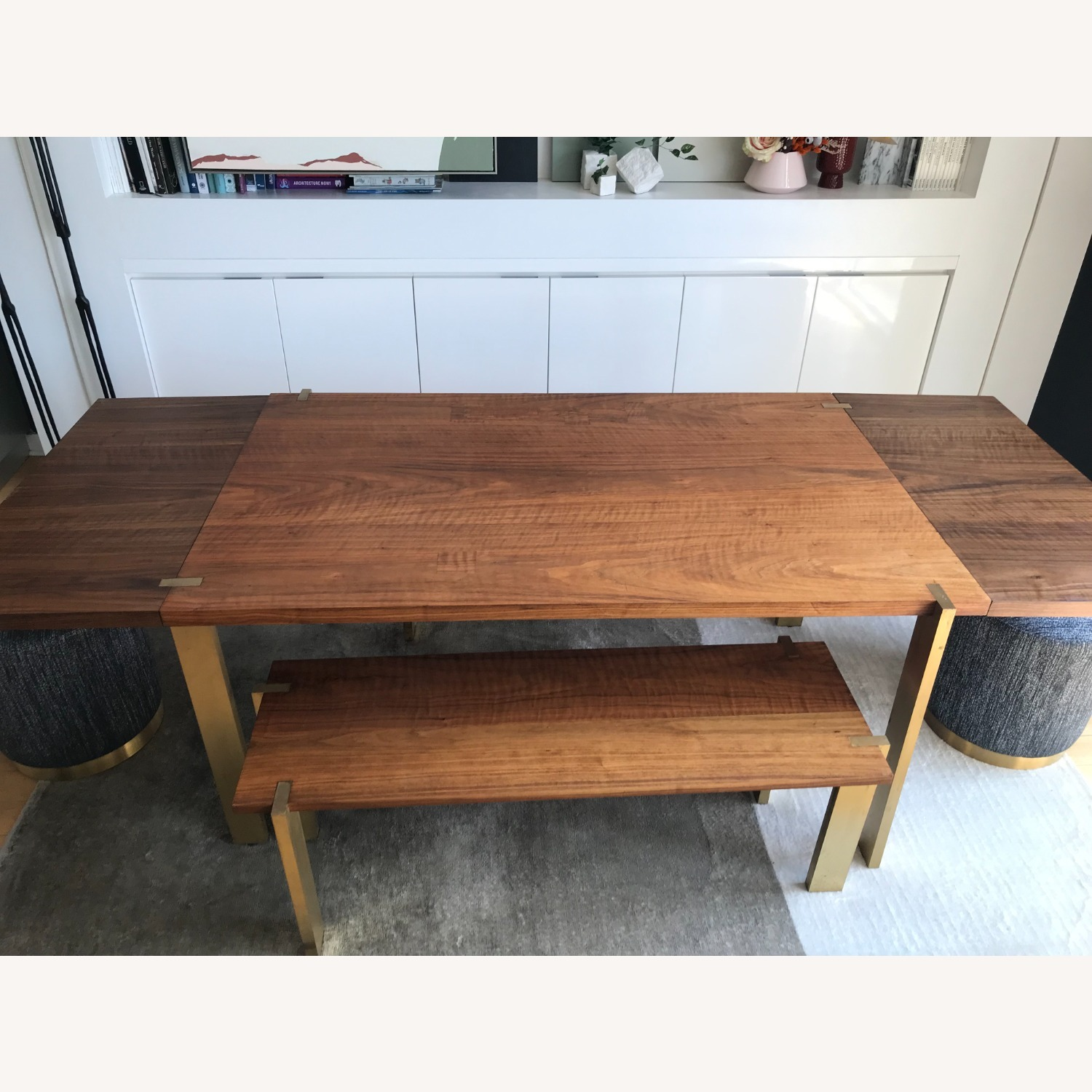 Taylor Made Custom Brass and Walnut Extension Dining Set - image-5