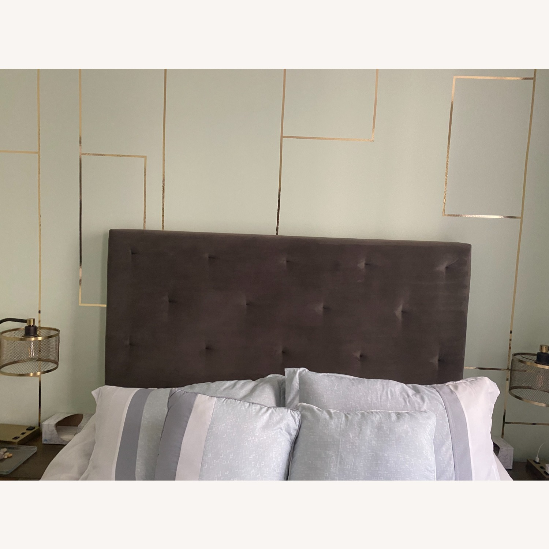 West Elm Suede Tufted Queen Bed - image-1
