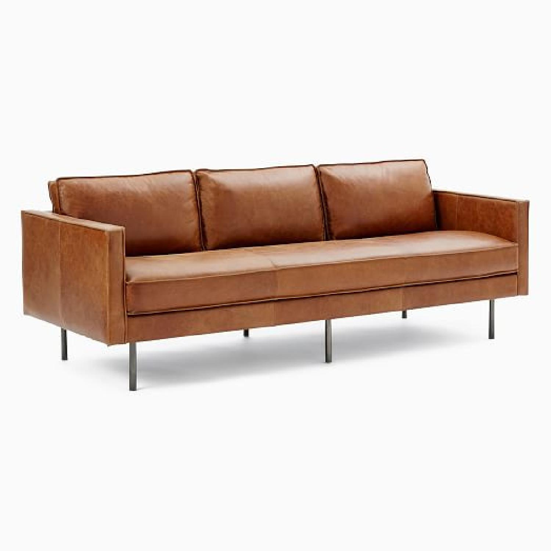 West Elm Leather Sofa - image-5