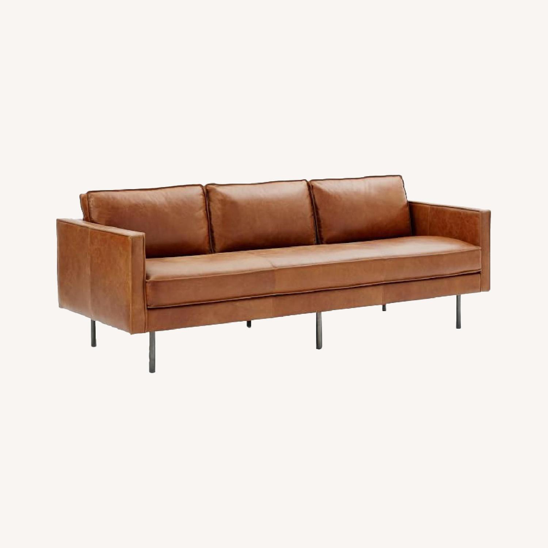 West Elm Leather Sofa - image-0