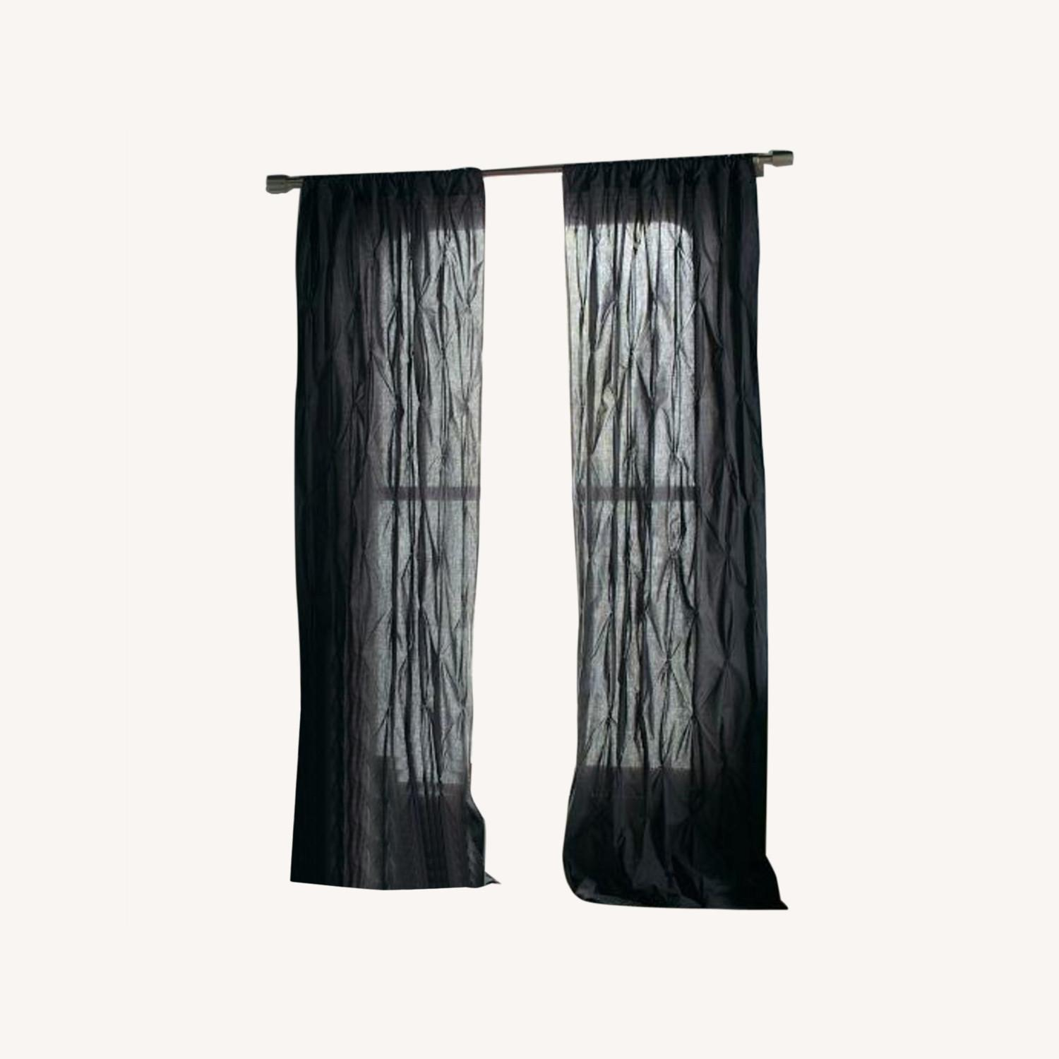 West Elm Grey Pintuck 8 Ft Curtains - image-0