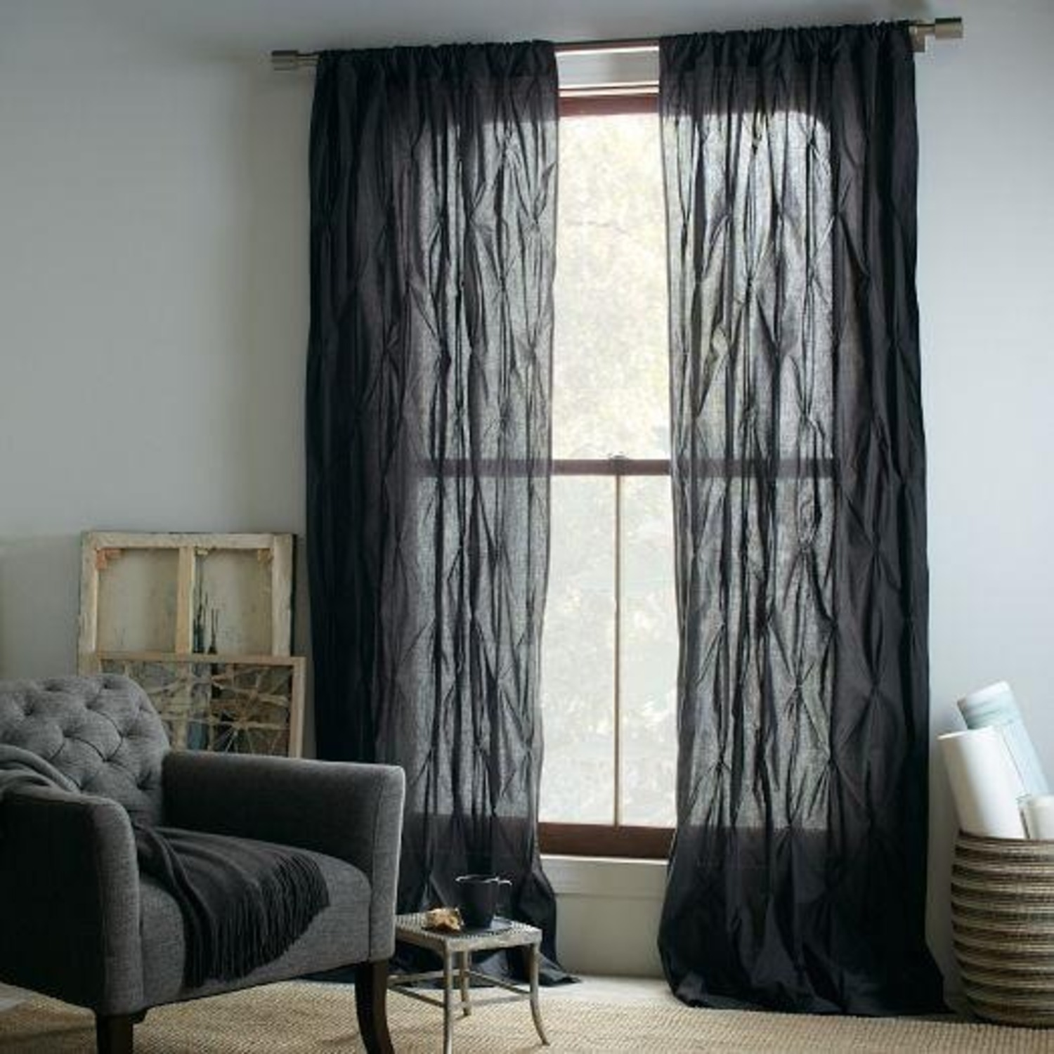 West Elm Grey Pintuck 8 Ft Curtains - image-1