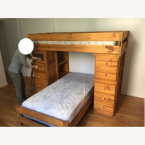 Used T Twin Bunk Beds - w Dresser Drawers Bookshelves for sale on AptDeco