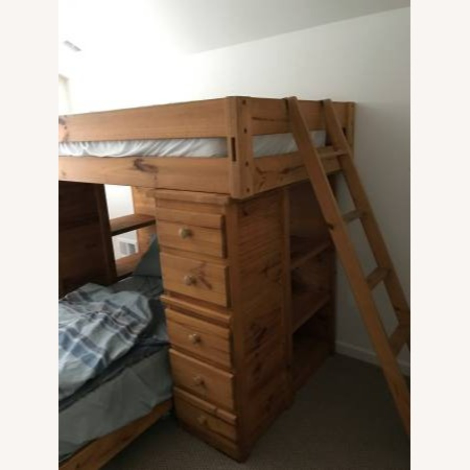 T Twin Bunk Beds - w Dresser Drawers Bookshelves - image-3