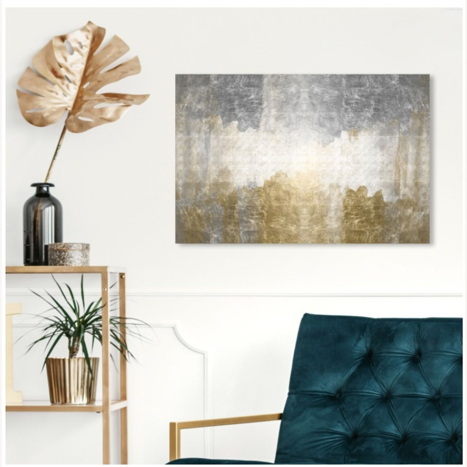 Oliver Gal Silver & Gold Absract Canvas Wall Art - image-2