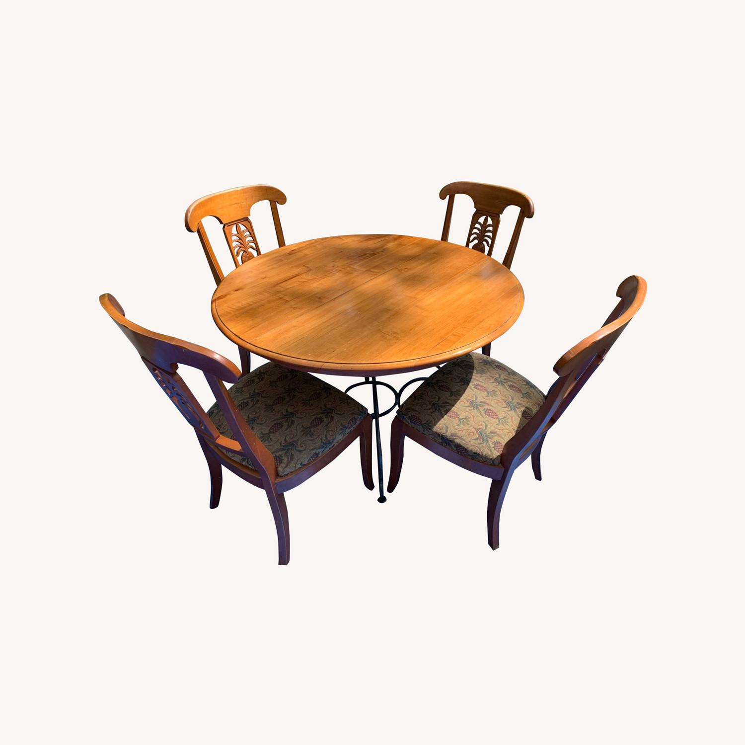 Ethan Allen Wood Dining Table with Leaf & 4 Chairs - image-5