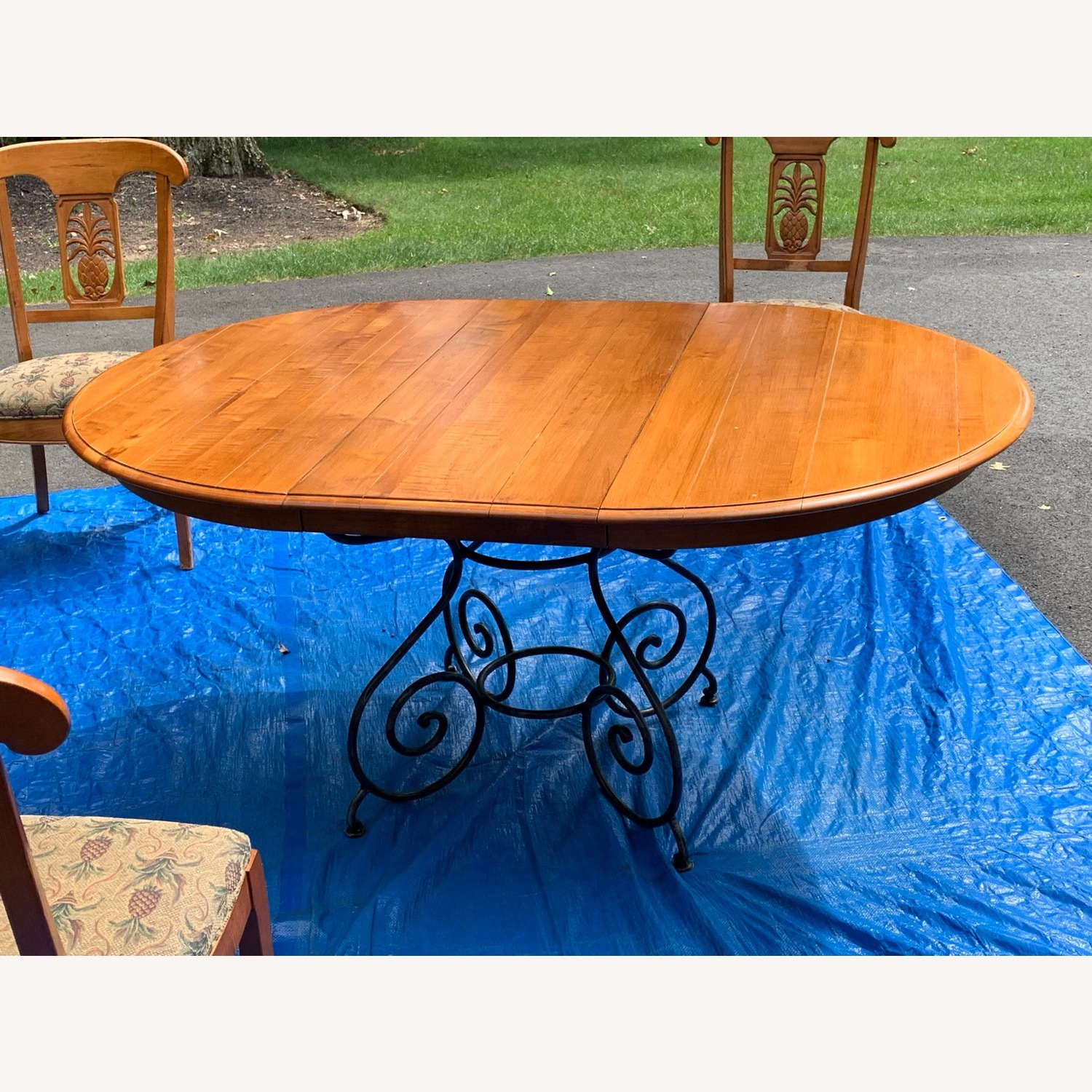 Ethan Allen Wood Dining Table with Leaf & 4 Chairs - image-2