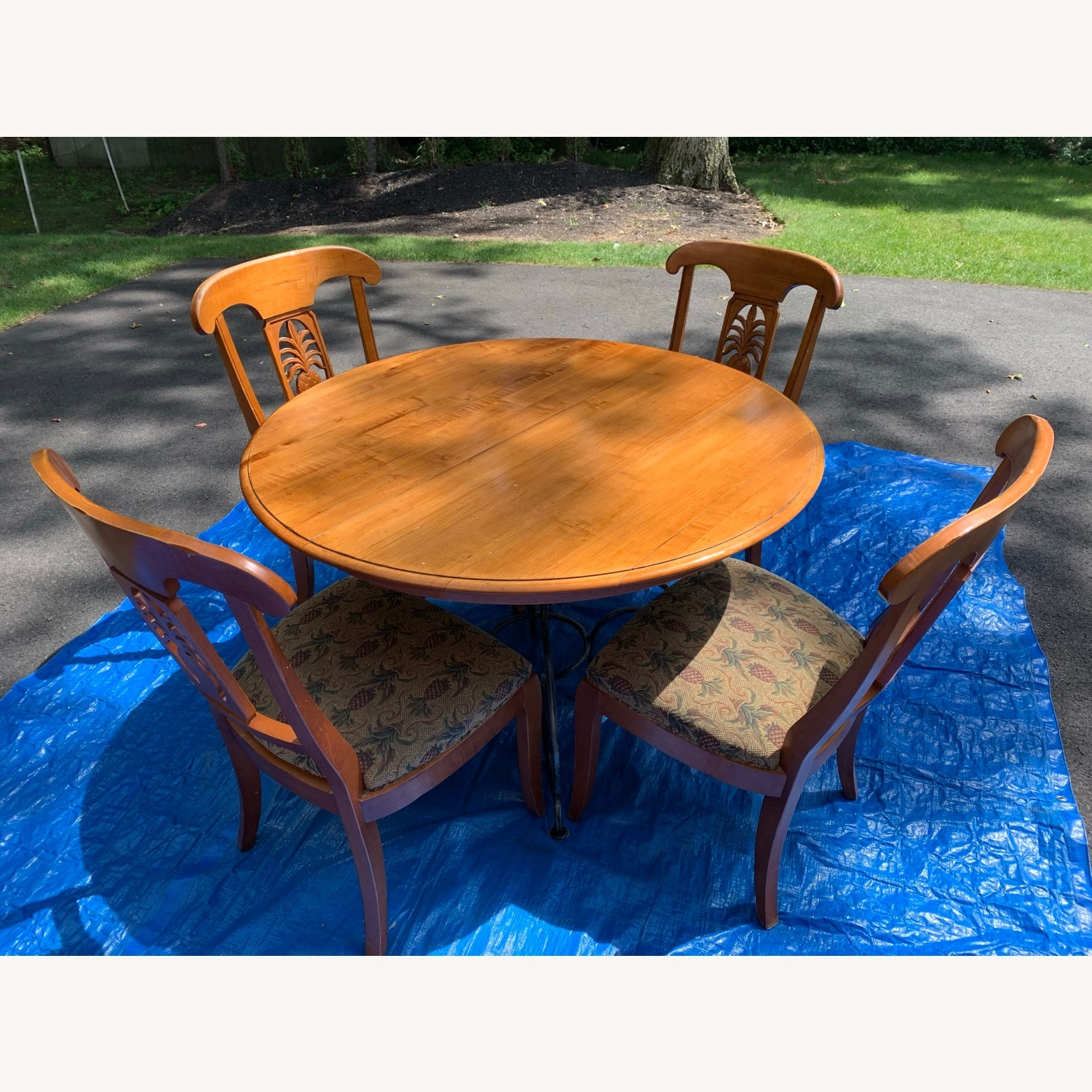 Ethan Allen Wood Dining Table with Leaf & 4 Chairs - image-1