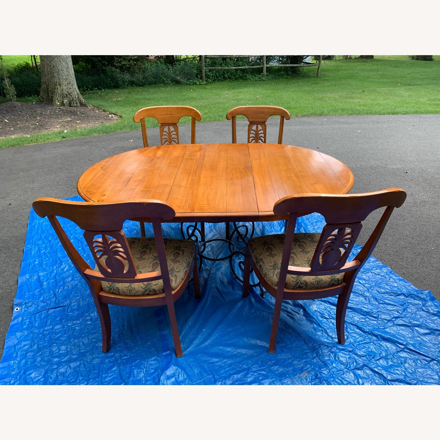 Ethan Allen Wood Dining Table with Leaf & 4 Chairs - image-0