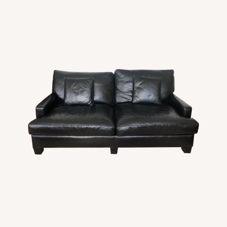 Elegant Black Leather Couch - image-0