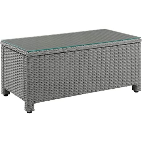 Used Glass Wicker Patio Table for sale on AptDeco