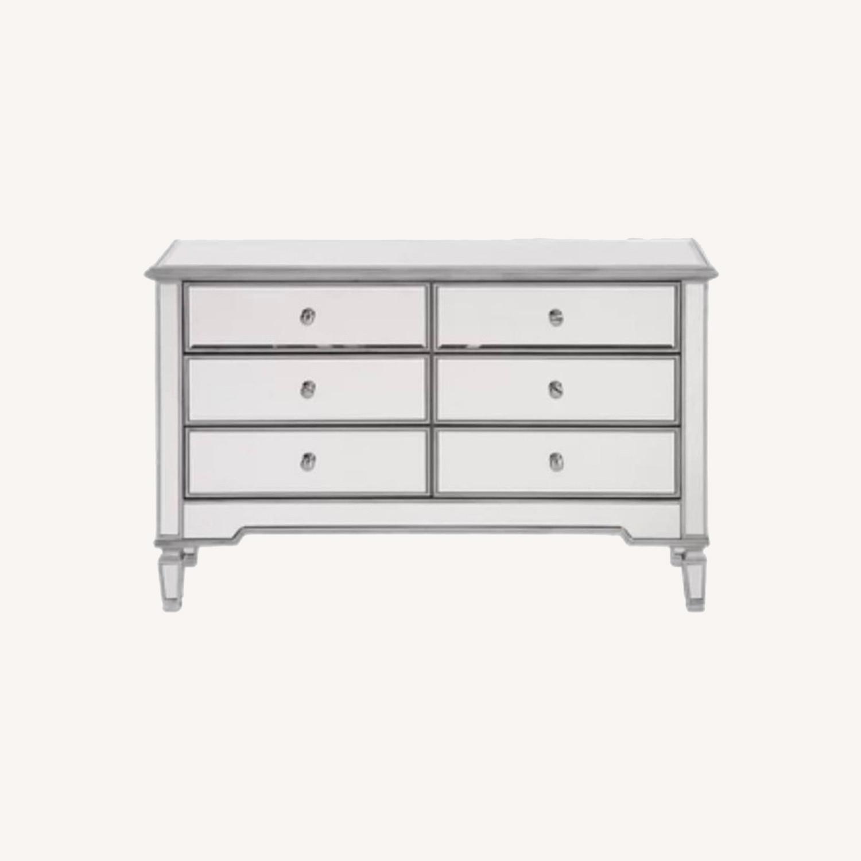 Wayfair 6 Drawer Double Mirrored Dresser w Silver - image-0