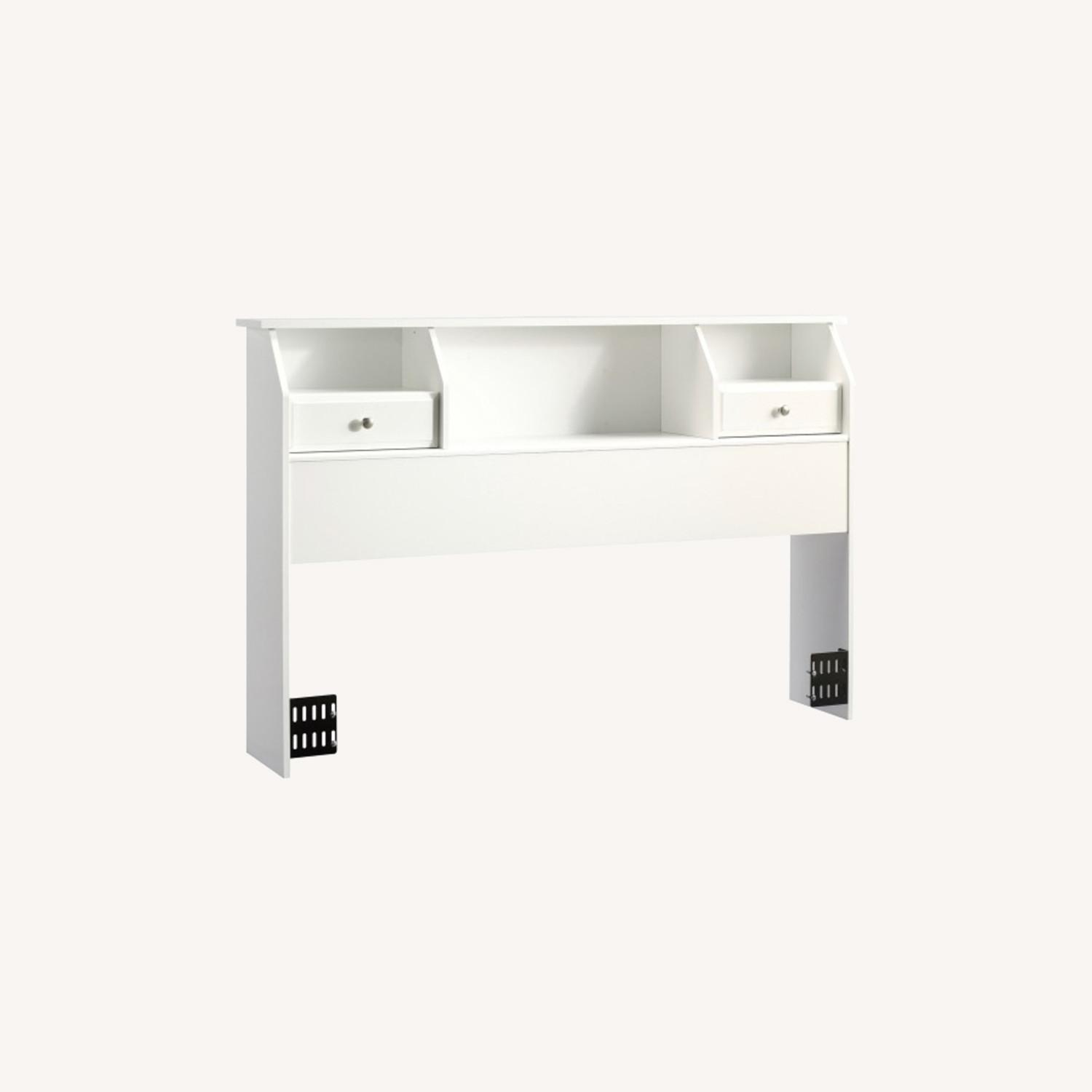 Queen/Full Headboard with Drawers (white wood) - image-0