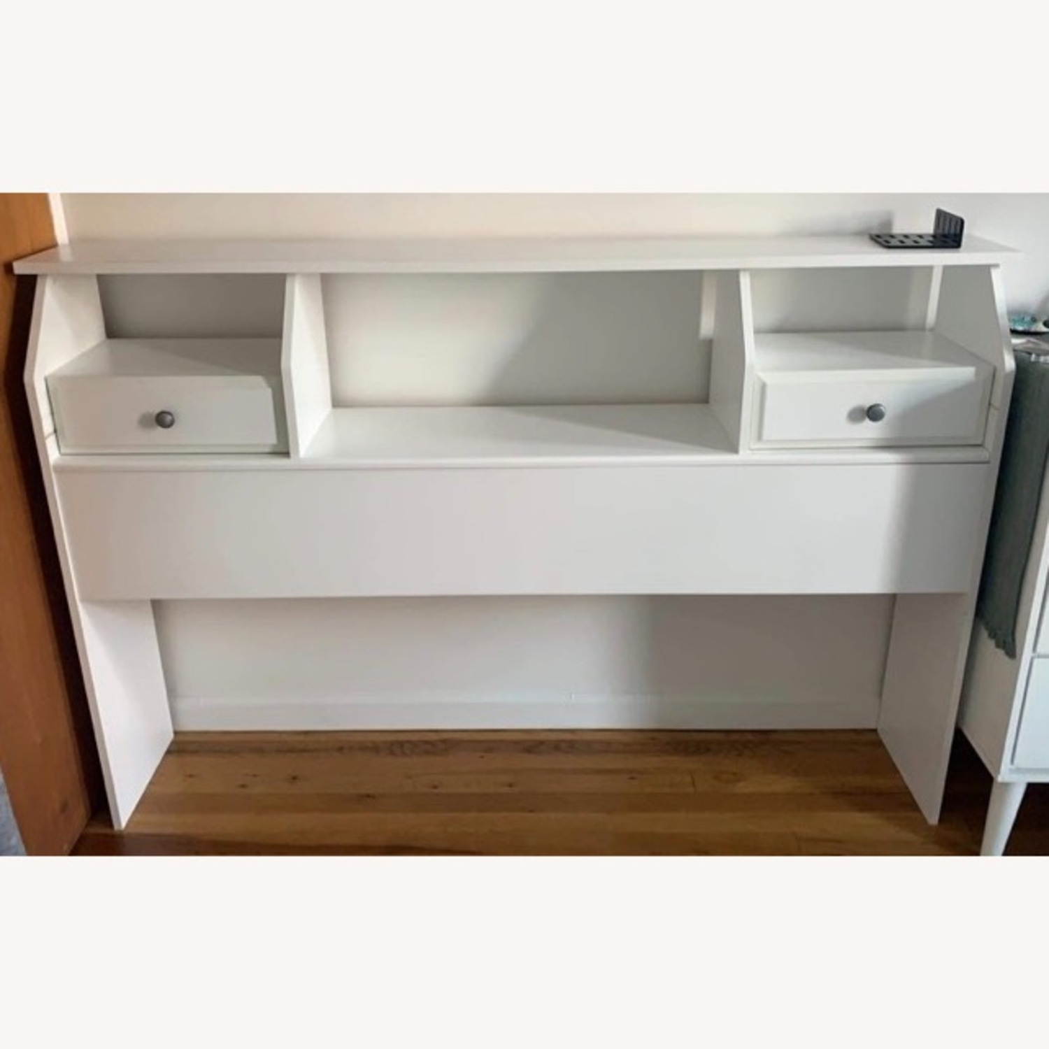 Queen/Full Headboard with Drawers (white wood) - image-2