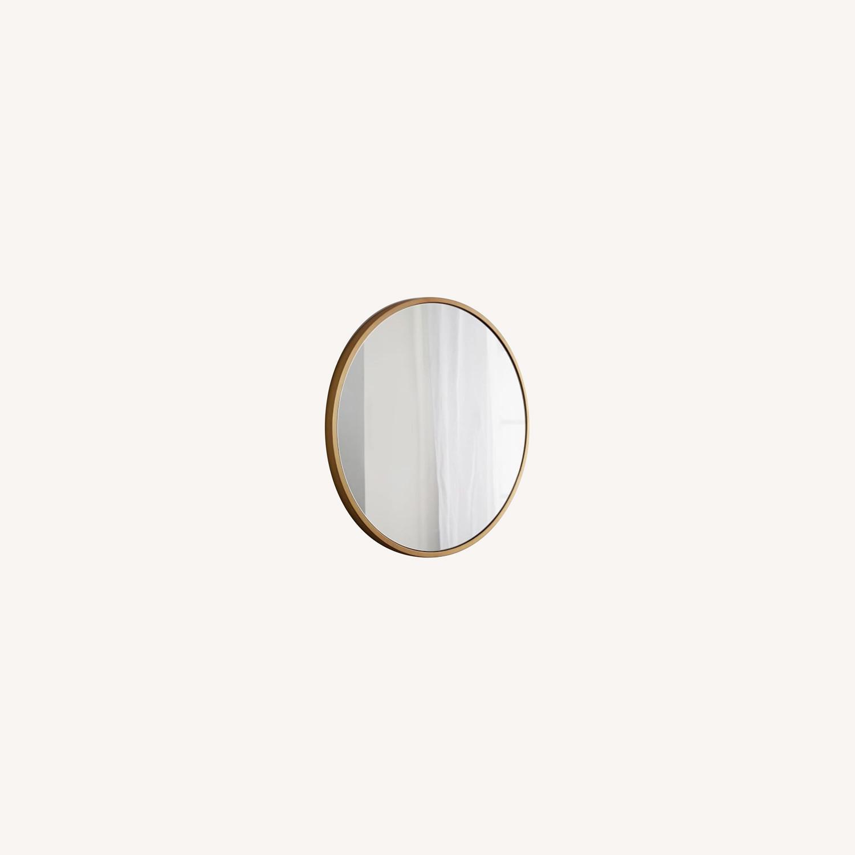 West Elm Metal Framed Mirror, Antique Brass, Round - image-0