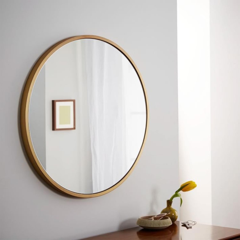 West Elm Metal Framed Mirror, Antique Brass, Round - image-2