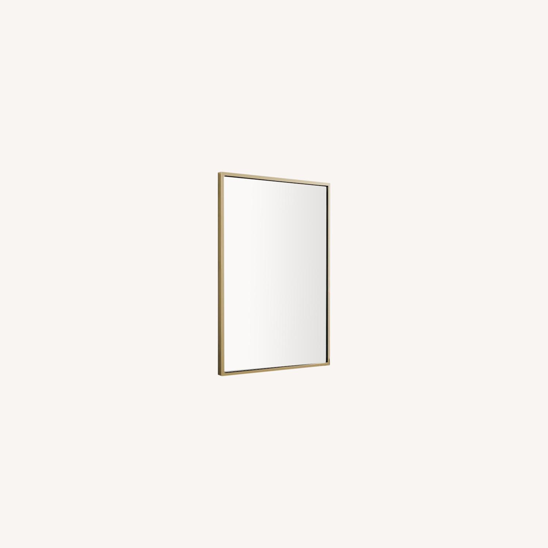 West Elm Metal Framed Mirror, Antique Brass - image-0