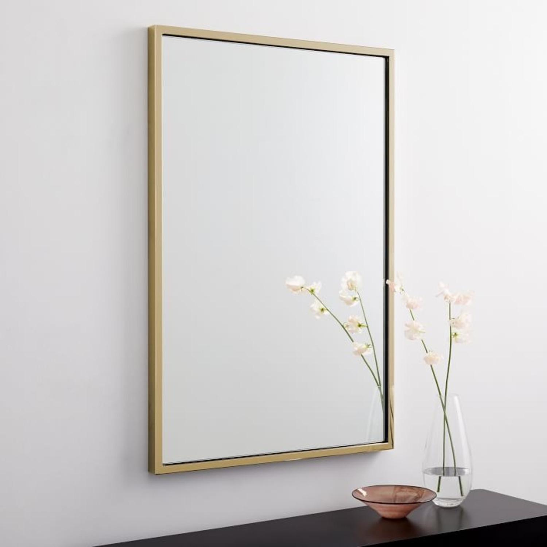 West Elm Metal Framed Mirror, Antique Brass - image-1