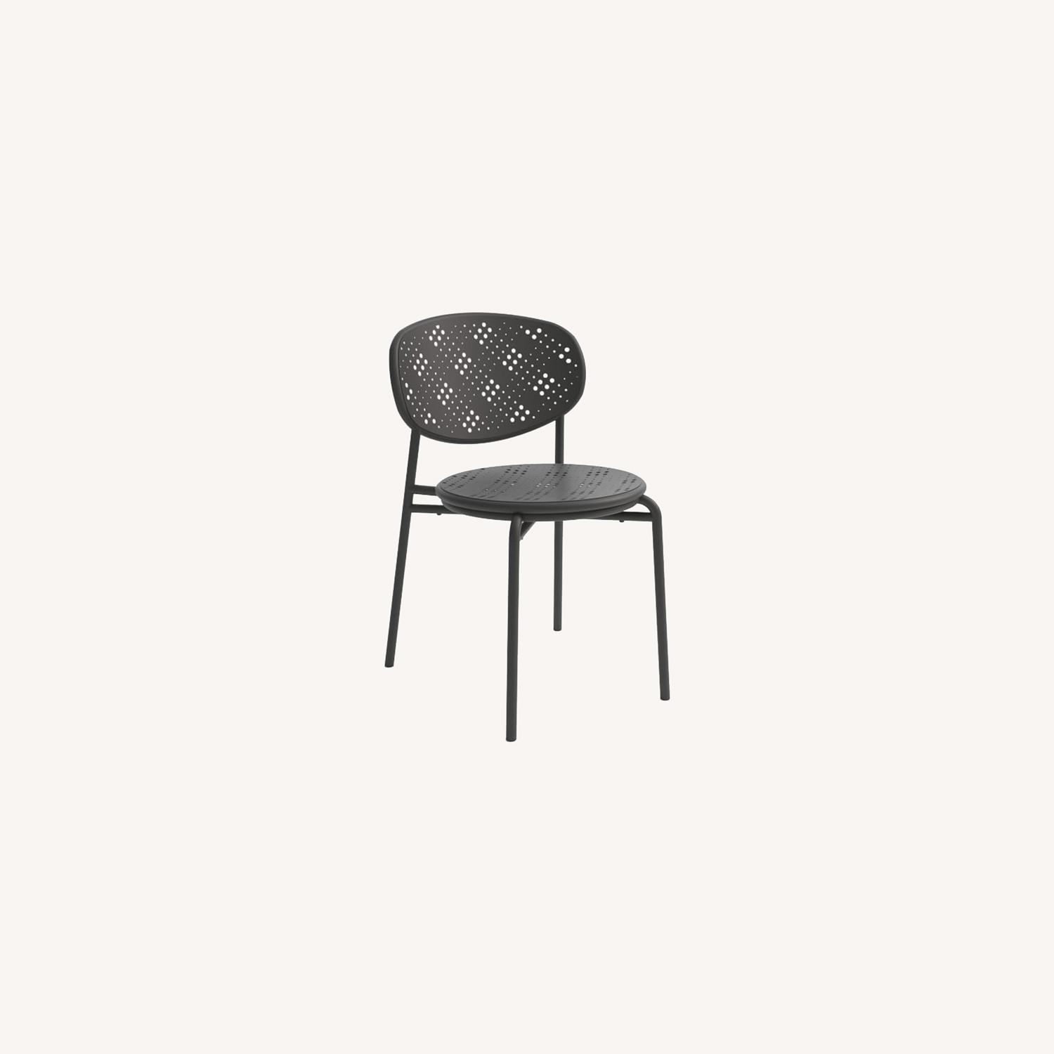 West Elm Cagney Outdoor Stacking Chair, Peppercorn - image-0