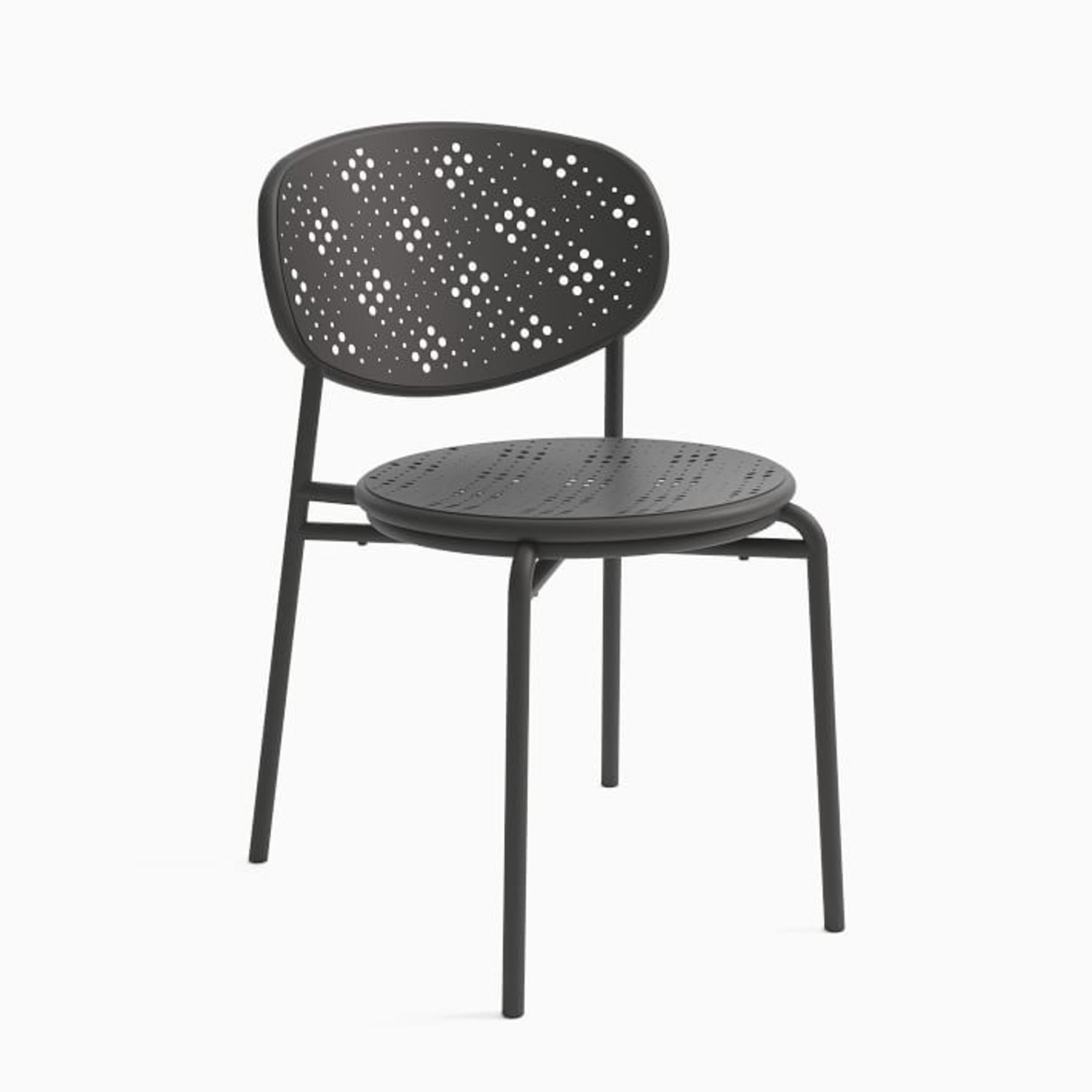 West Elm Cagney Outdoor Stacking Chair, Peppercorn - image-1