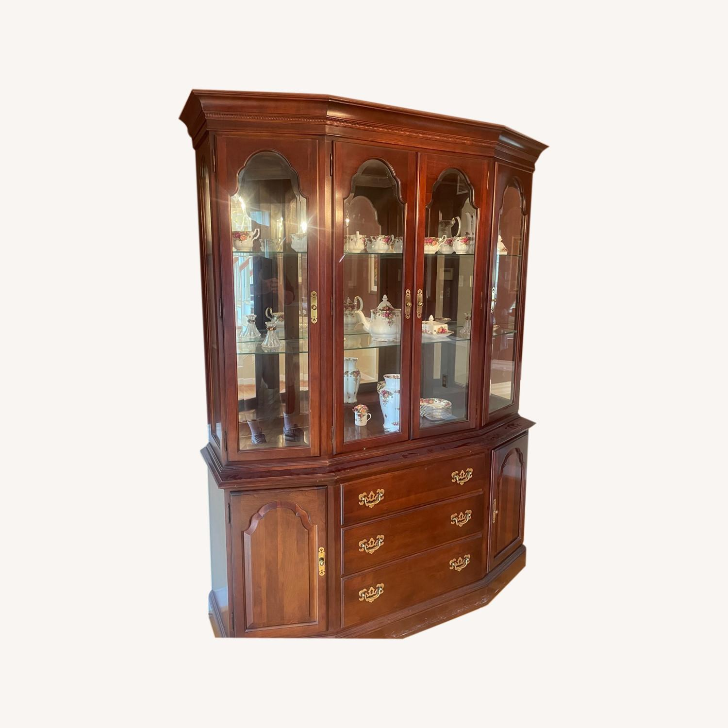 Ethan Allen Cherry Wood China Cabinet - image-0