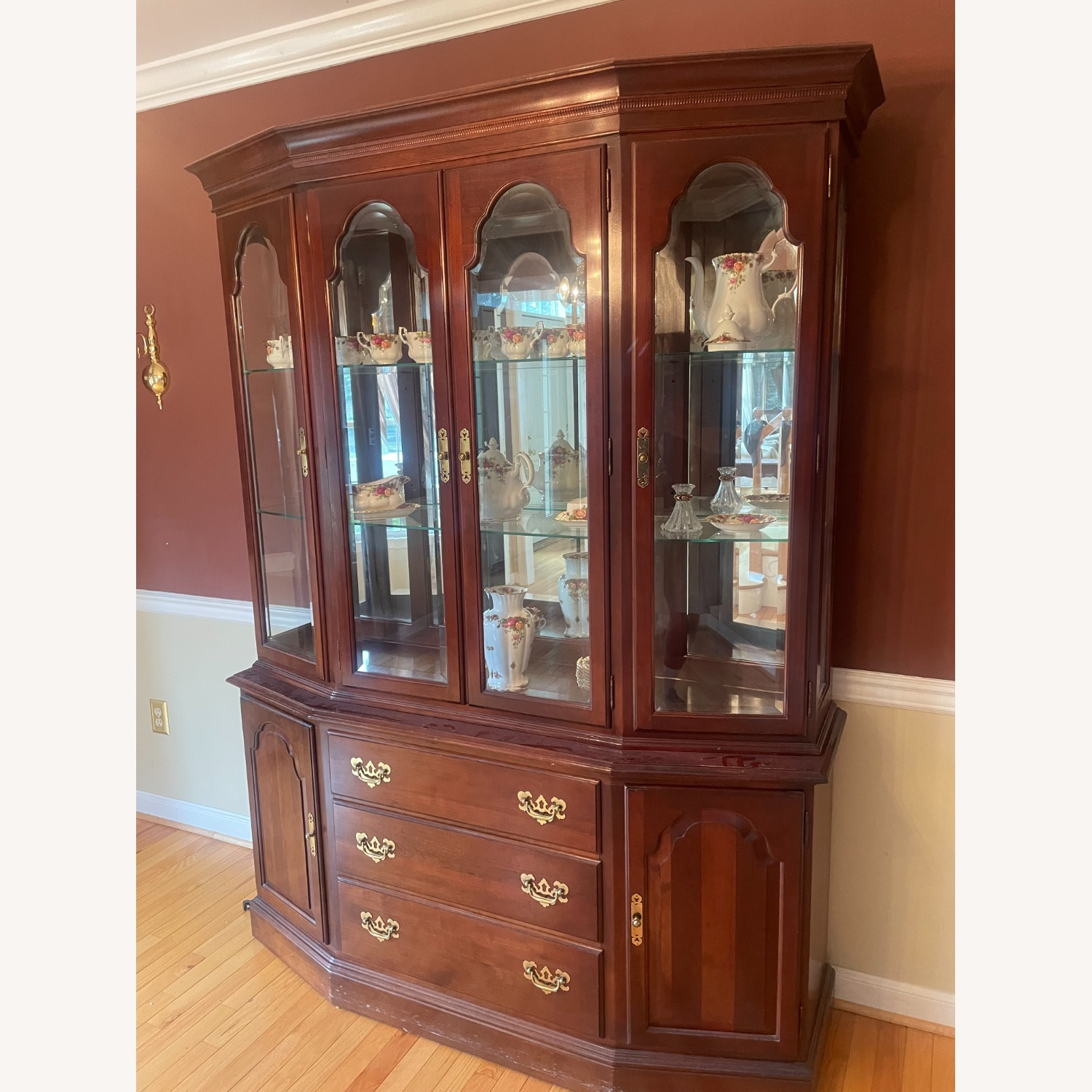 Ethan Allen Cherry Wood China Cabinet - image-3
