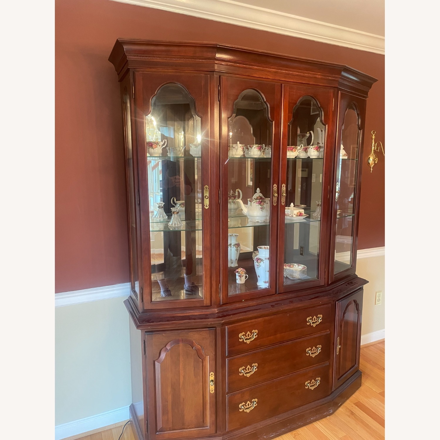 Ethan Allen Cherry Wood China Cabinet - image-1