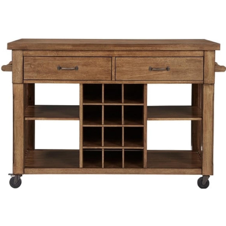 InspireQ Oak Wood Kitchen Island with Wine Rack - image-10