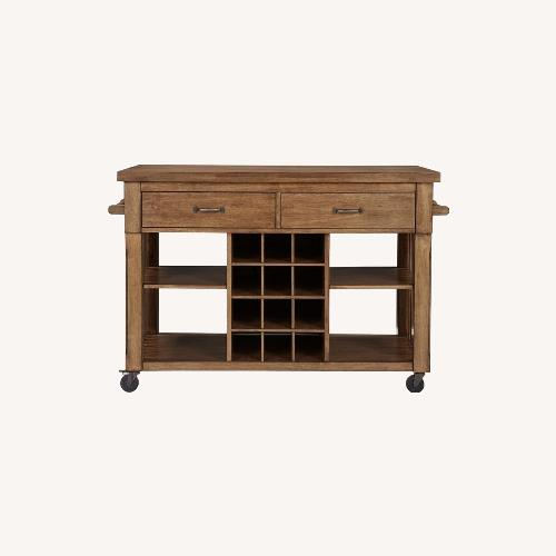 Used InspireQ Oak Wood Kitchen Island with Wine Rack for sale on AptDeco