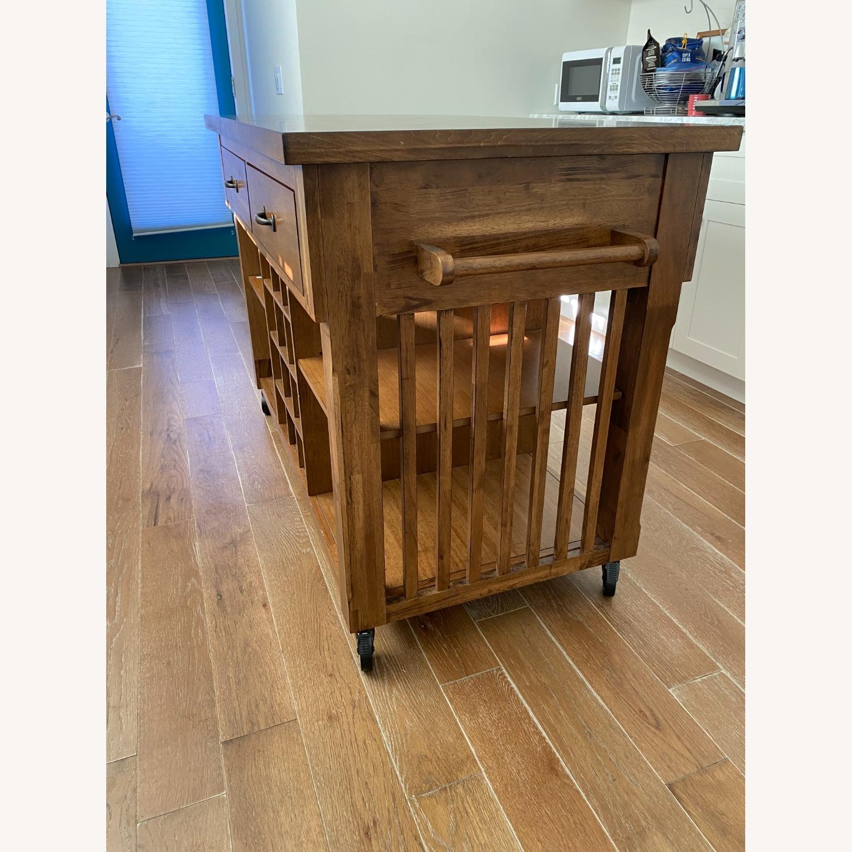 InspireQ Oak Wood Kitchen Island with Wine Rack - image-6