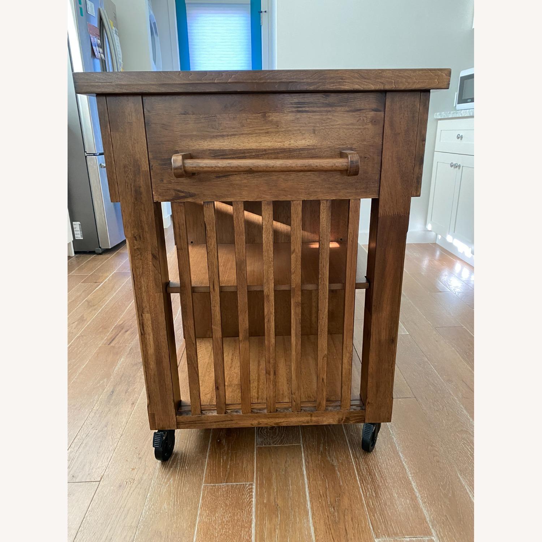 InspireQ Oak Wood Kitchen Island with Wine Rack - image-2