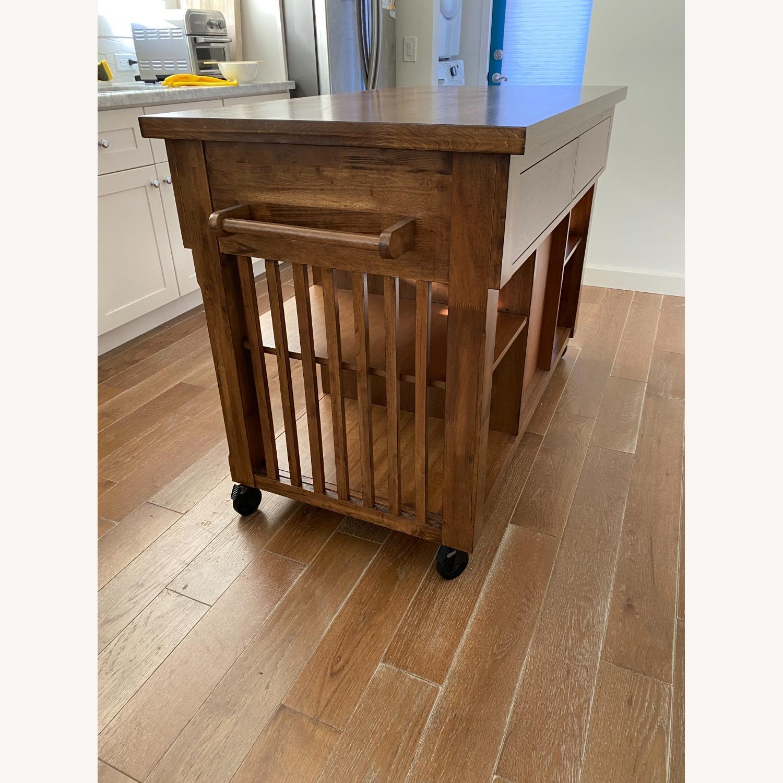 InspireQ Oak Wood Kitchen Island with Wine Rack - image-9
