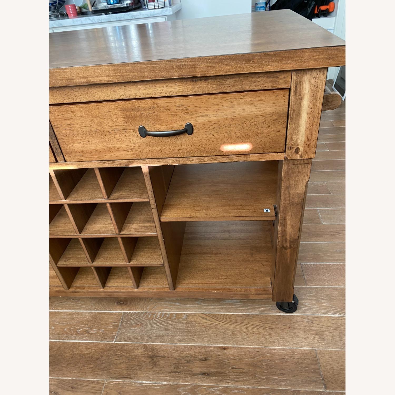 InspireQ Oak Wood Kitchen Island with Wine Rack - image-5