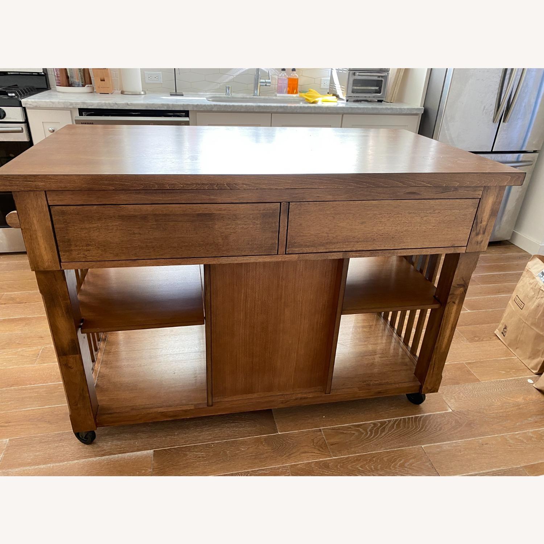 InspireQ Oak Wood Kitchen Island with Wine Rack - image-4