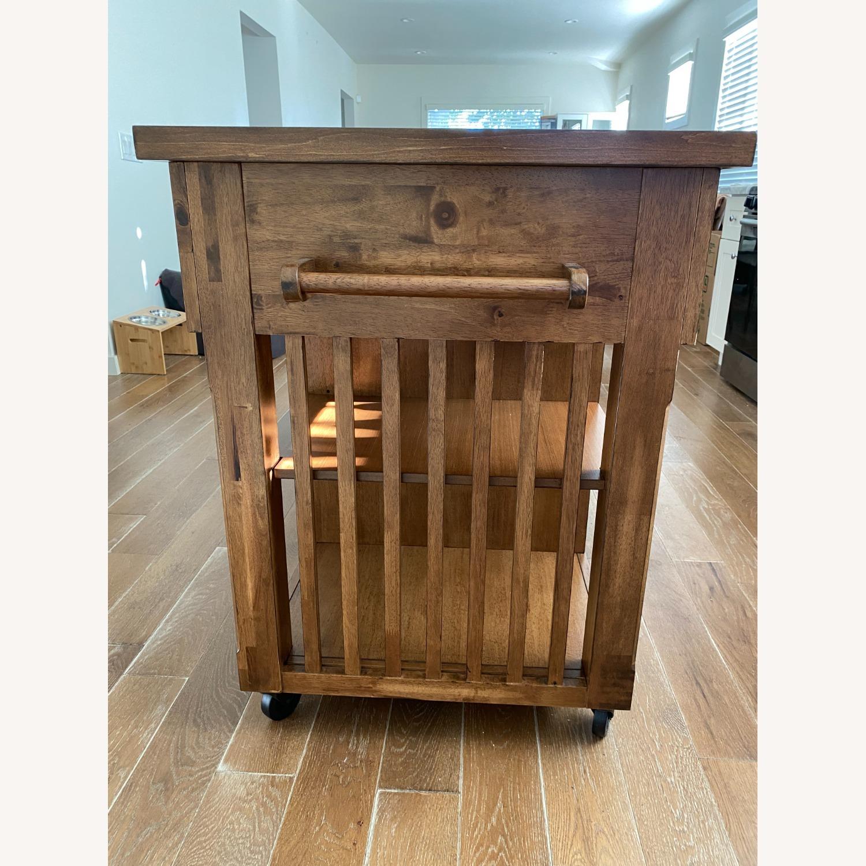 InspireQ Oak Wood Kitchen Island with Wine Rack - image-7