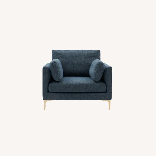 Used Castlery Adams Armchair Indigo Blue, Brass Leg for sale on AptDeco