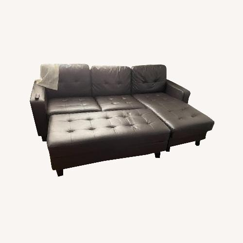 Used Lark Manor Faux Leather Sofa & Chaise for sale on AptDeco