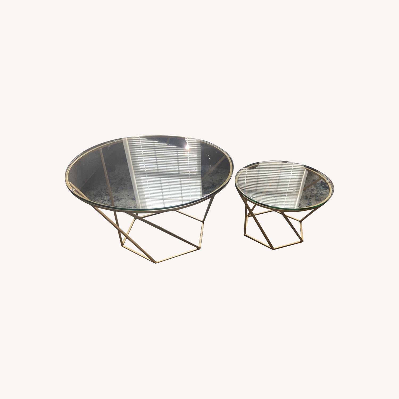 Wayfair Coffee Table Set - Modern Gold and Glass - image-0