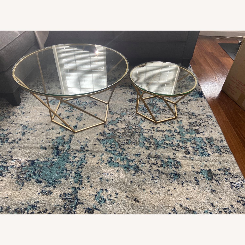 Wayfair Coffee Table Set - Modern Gold and Glass - image-2