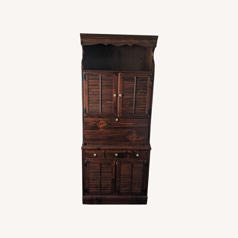 Ethan Allen Wine/Liquor Cabinet w/ Bookcase Top - image-0