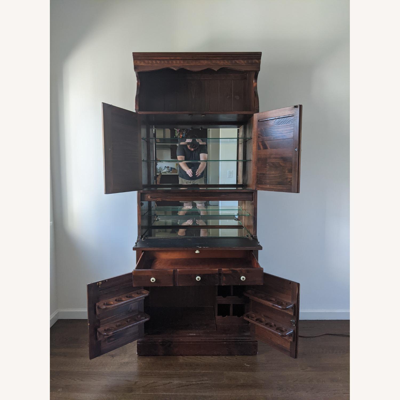 Ethan Allen Wine/Liquor Cabinet w/ Bookcase Top - image-3