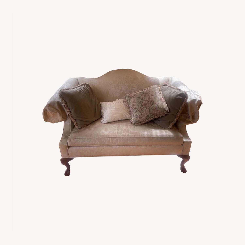 Ethan Allen Georgian Cherry Wood Love Sofa - image-0