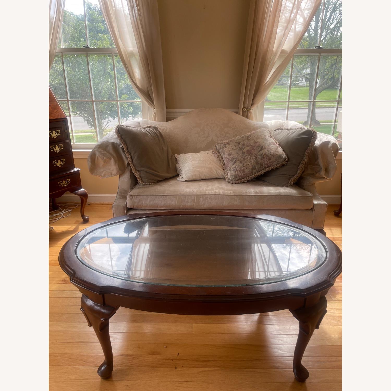 Ethan Allen Georgian Cherry Wood Love Sofa - image-2