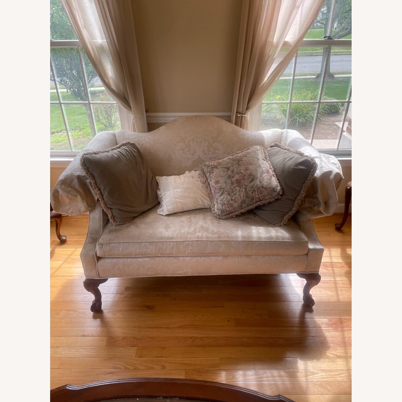 Ethan Allen Georgian Cherry Wood Love Sofa - image-1