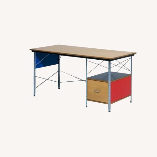 Used Herman Miller Eames Desk Blue & Red Side Panels for sale on AptDeco