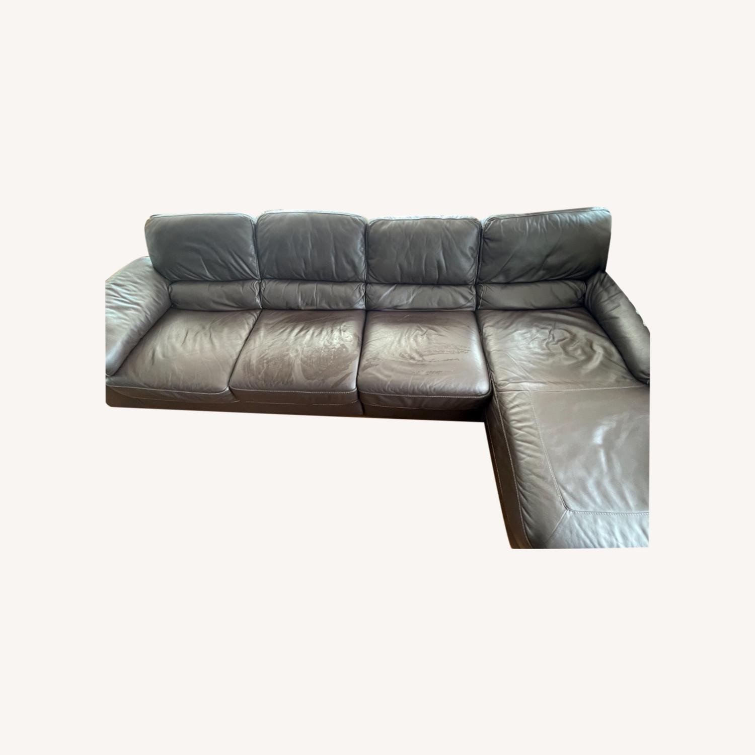 Raymour & Flanigan Brown Leather Four Seat Sectional - image-0