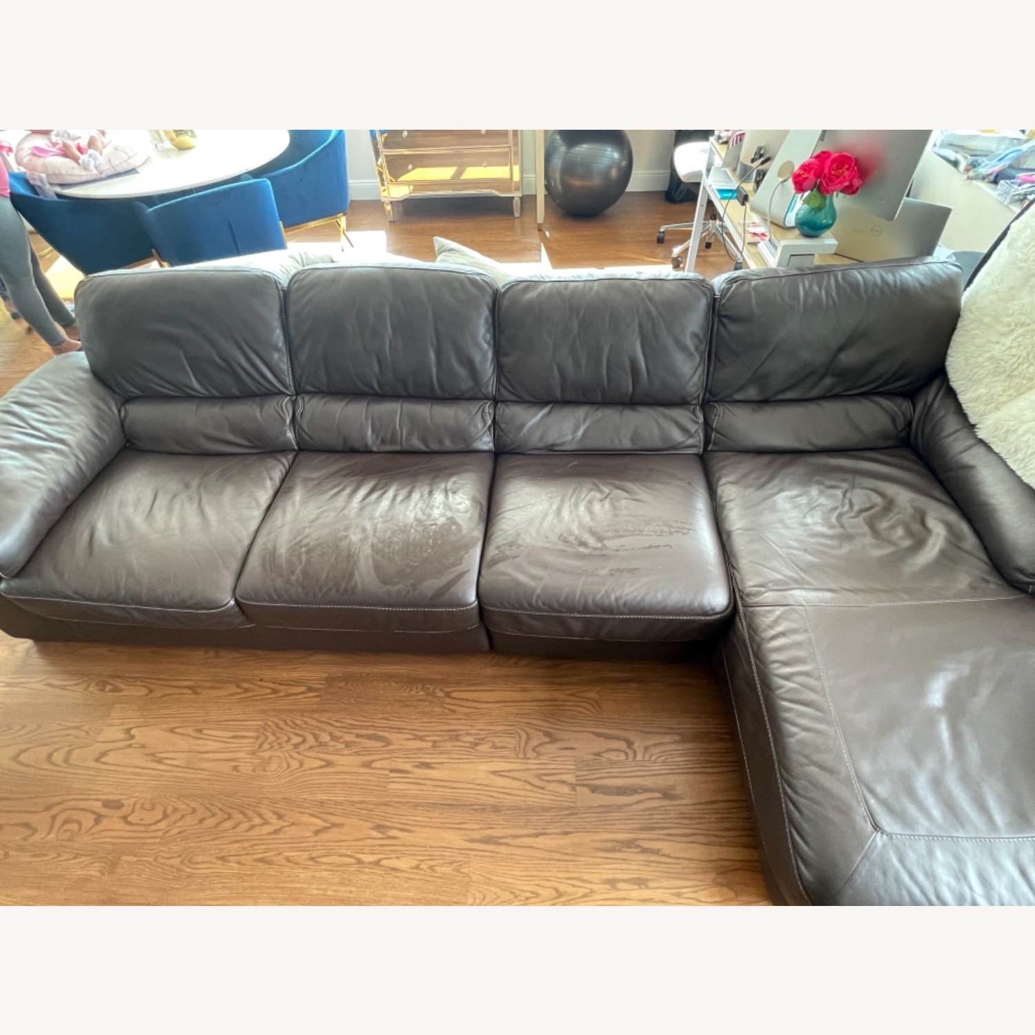 Raymour & Flanigan Brown Leather Four Seat Sectional - image-4
