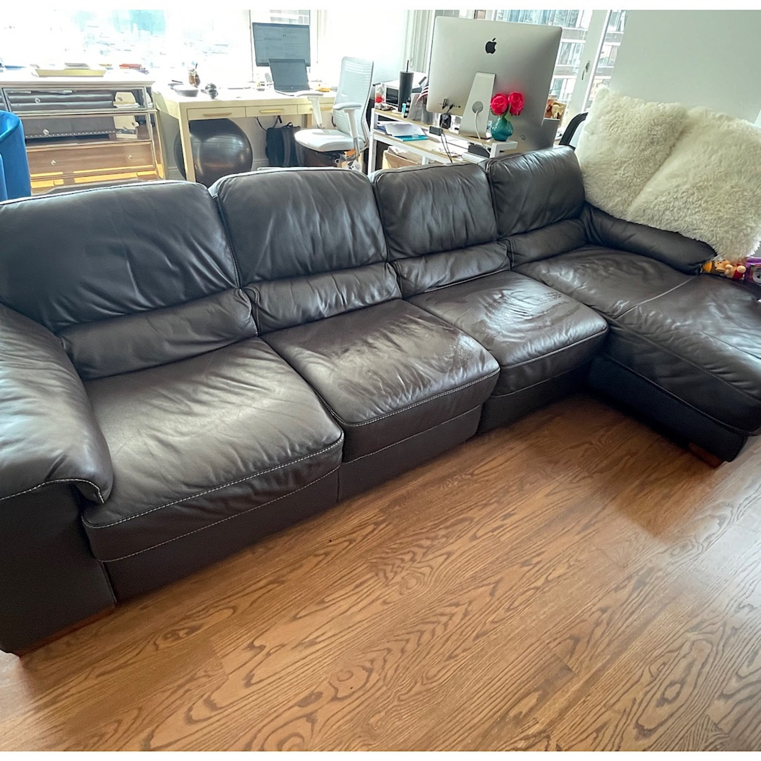 Raymour & Flanigan Brown Leather Four Seat Sectional - image-1