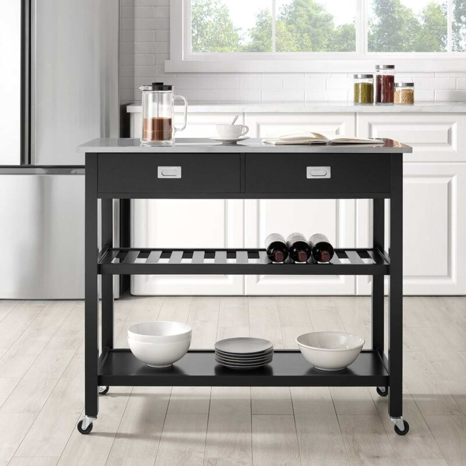 Wayfair Kitchen Island with Stainless Steel Top - image-1